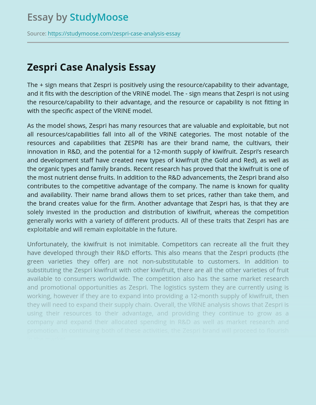 Zespri Marketing Case Analysis