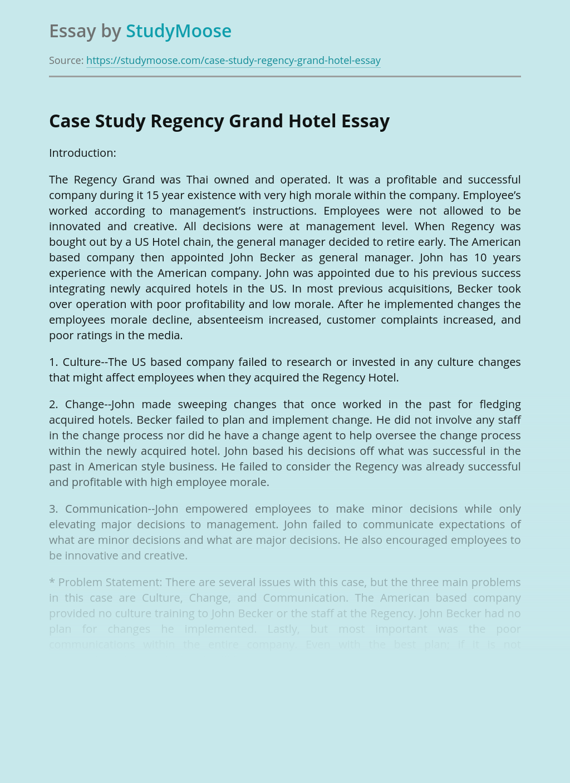 ?Case Study Regency Grand Hotel
