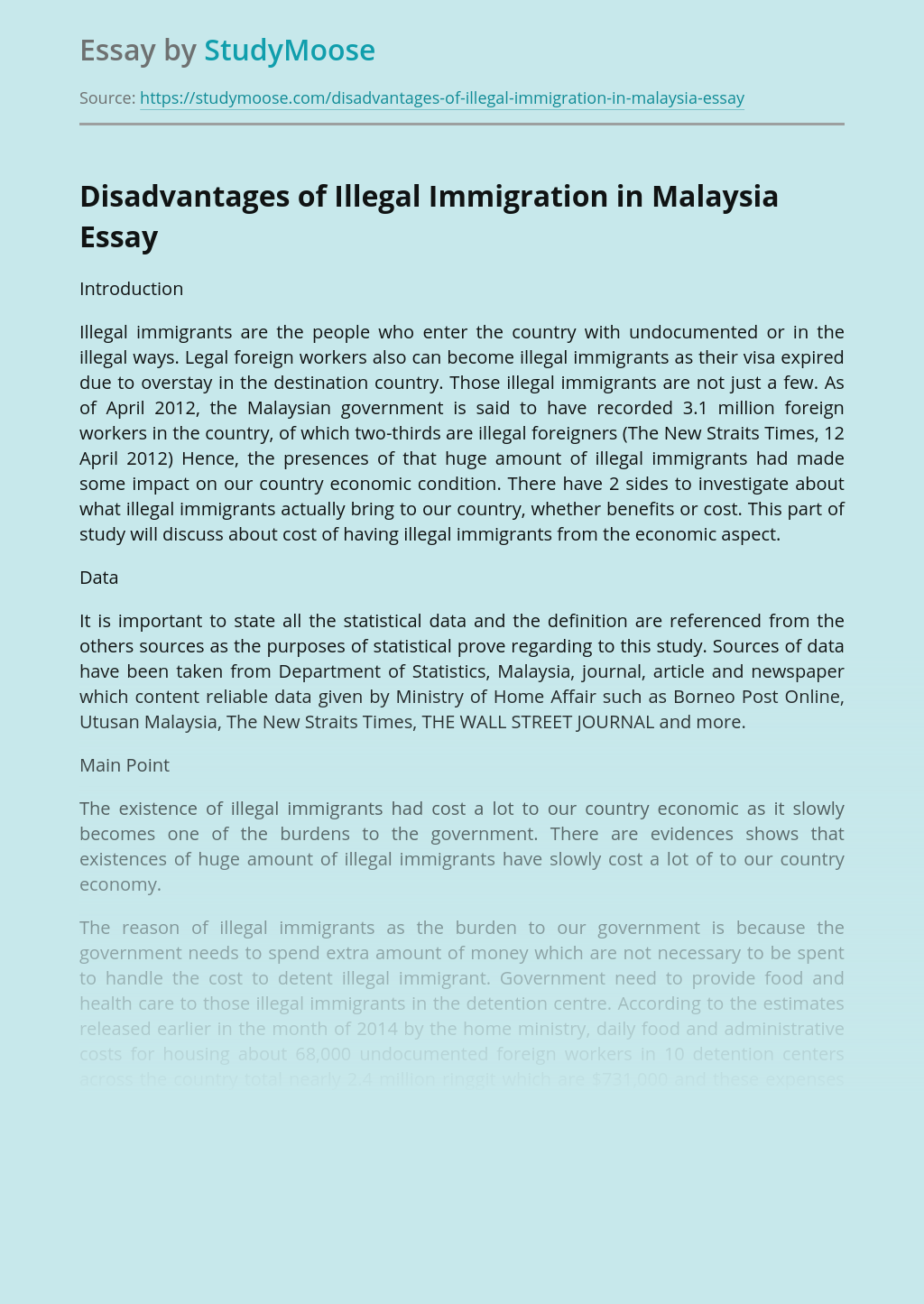 Disadvantages of Illegal Immigration in Malaysia