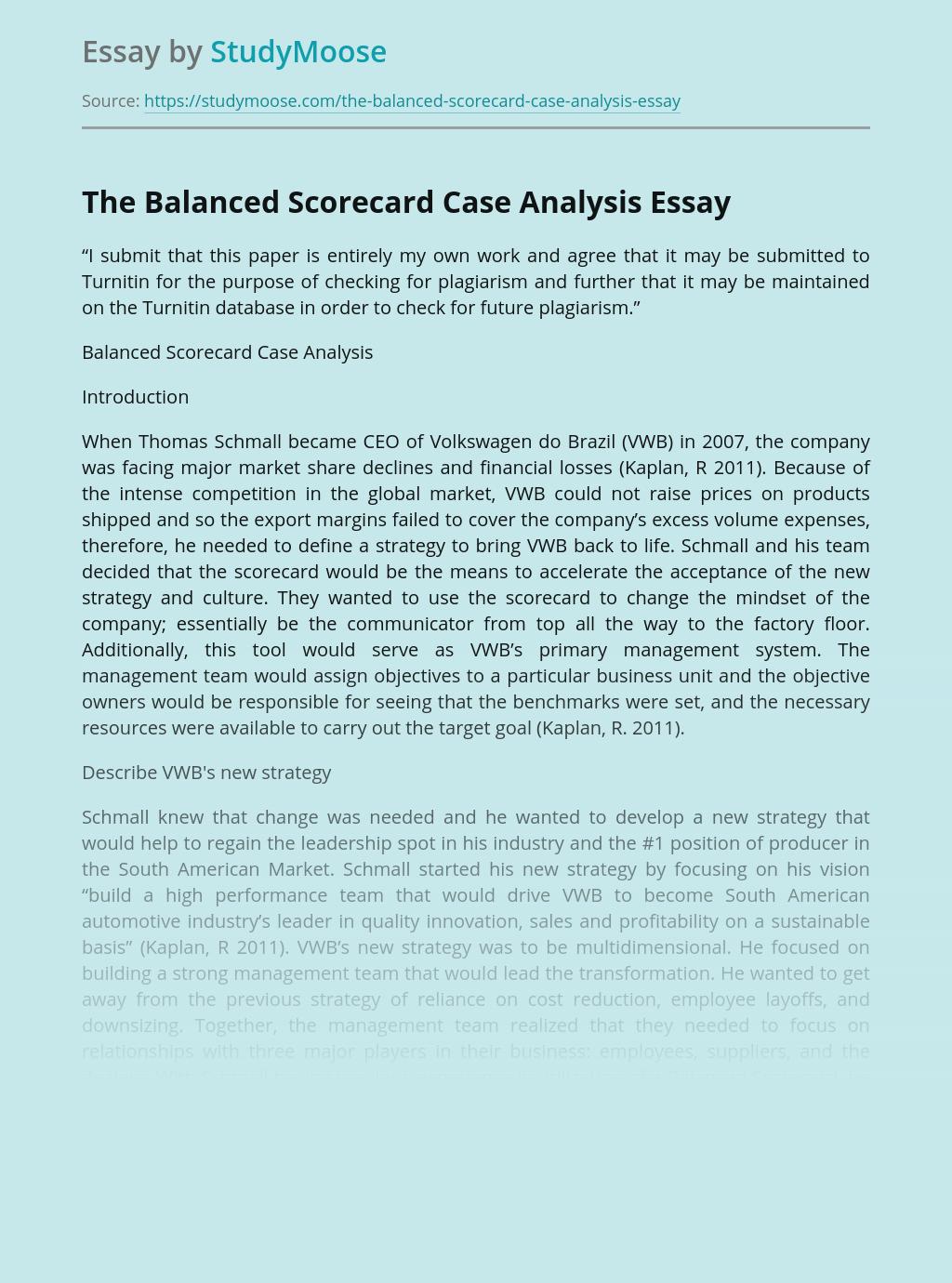 The Balanced Scorecard Case Analysis