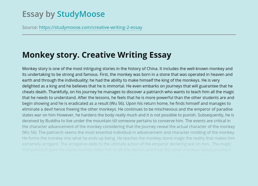 Monkey story. Creative Writing