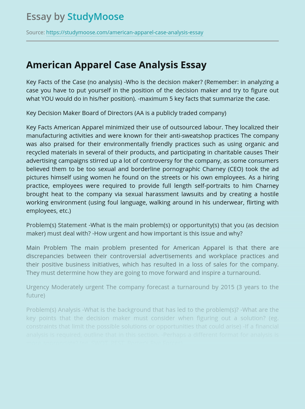 American Apparel Case Analysis
