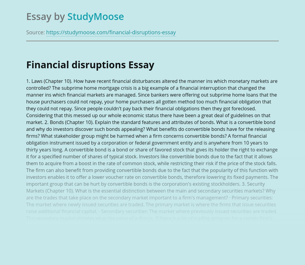 Financial Disruptions