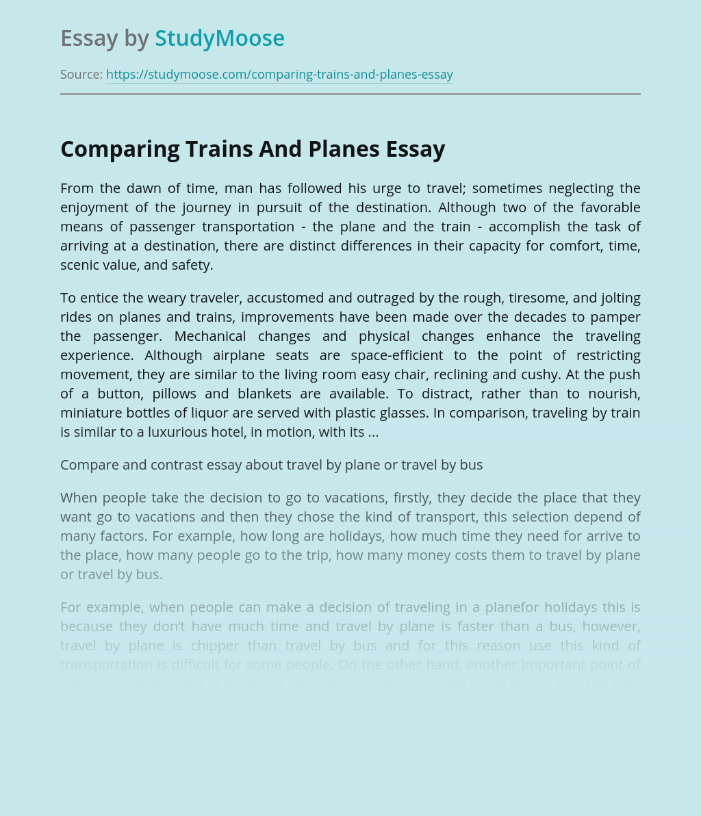 Comparing Trains And Planes