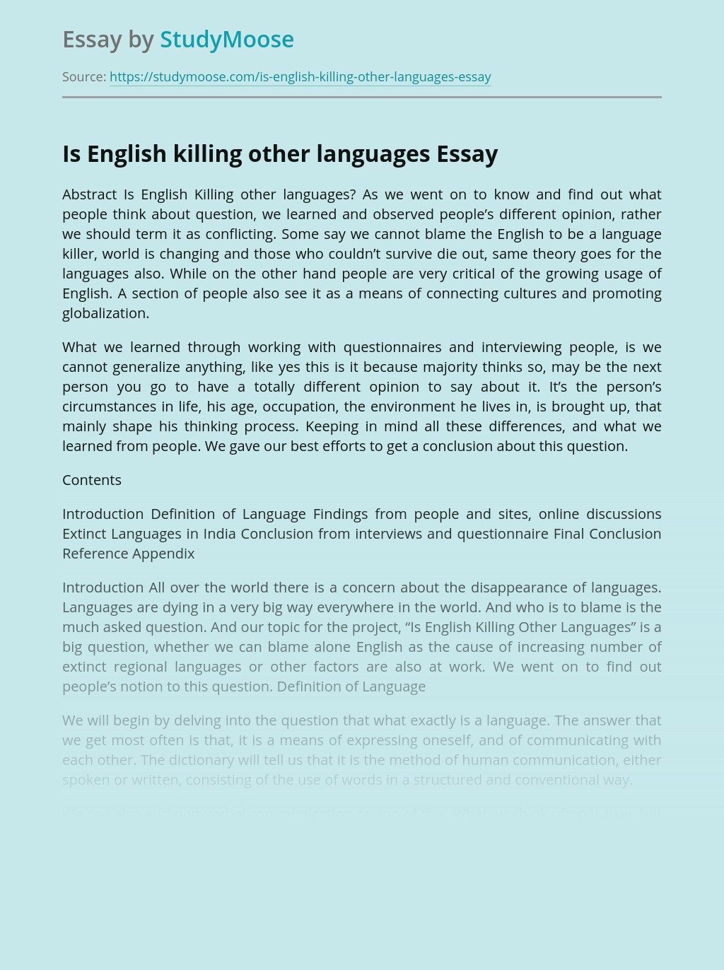 Is English killing other languages