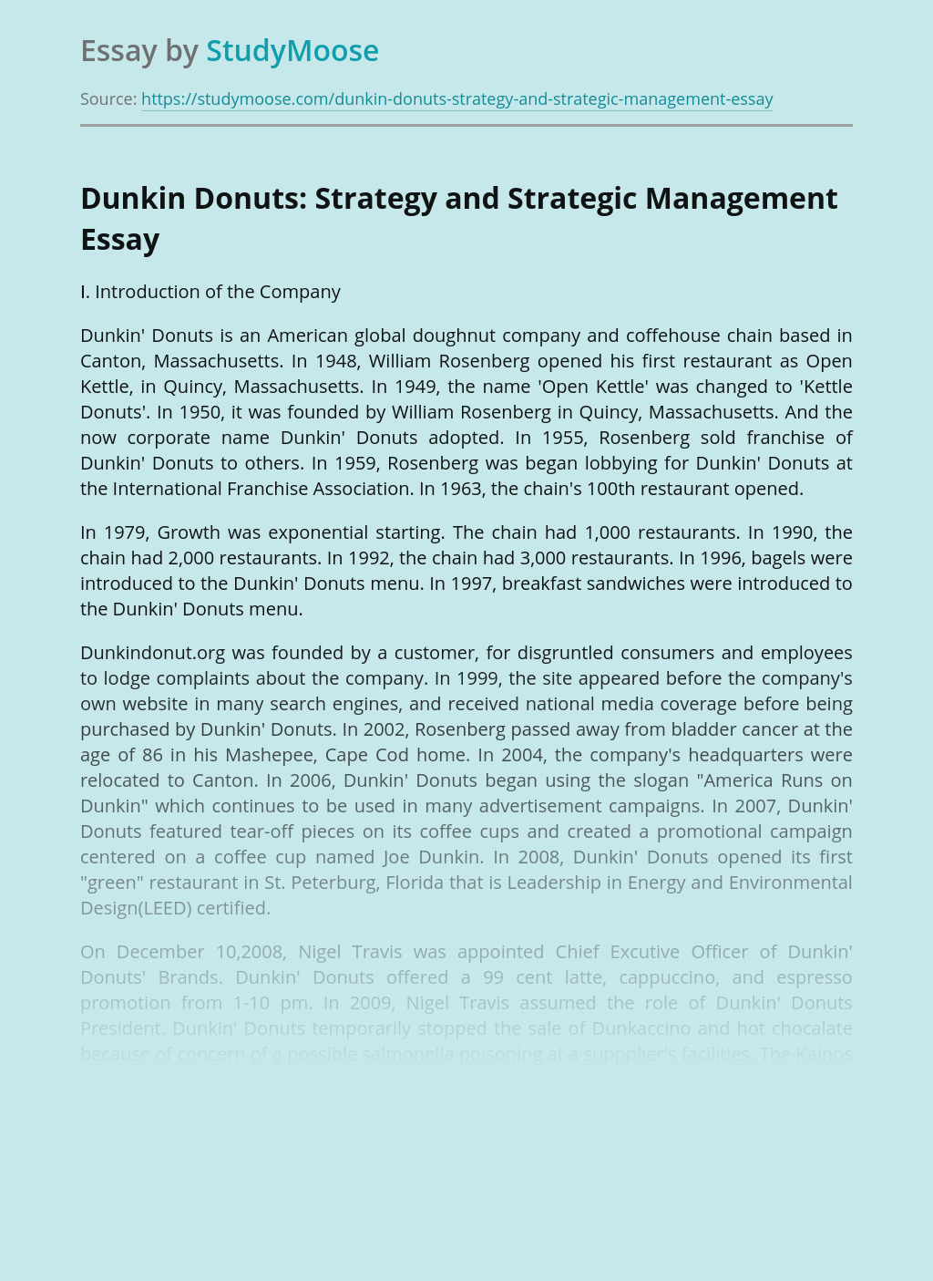 Dunkin Donuts: Strategy and Strategic Management