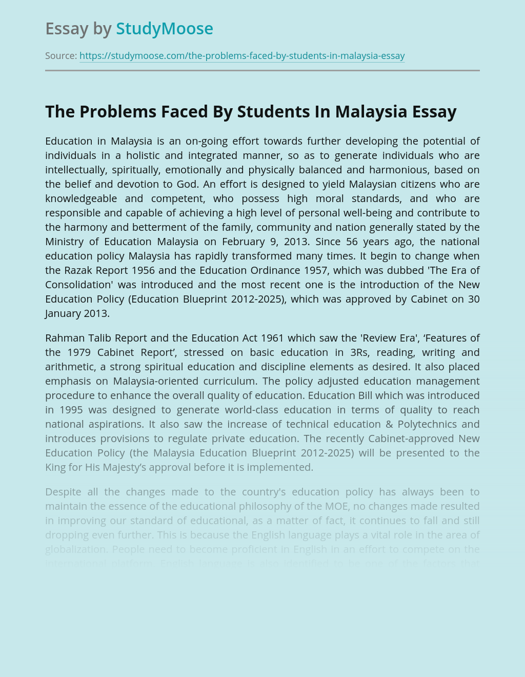 The Problems Faced By Students In Malaysia