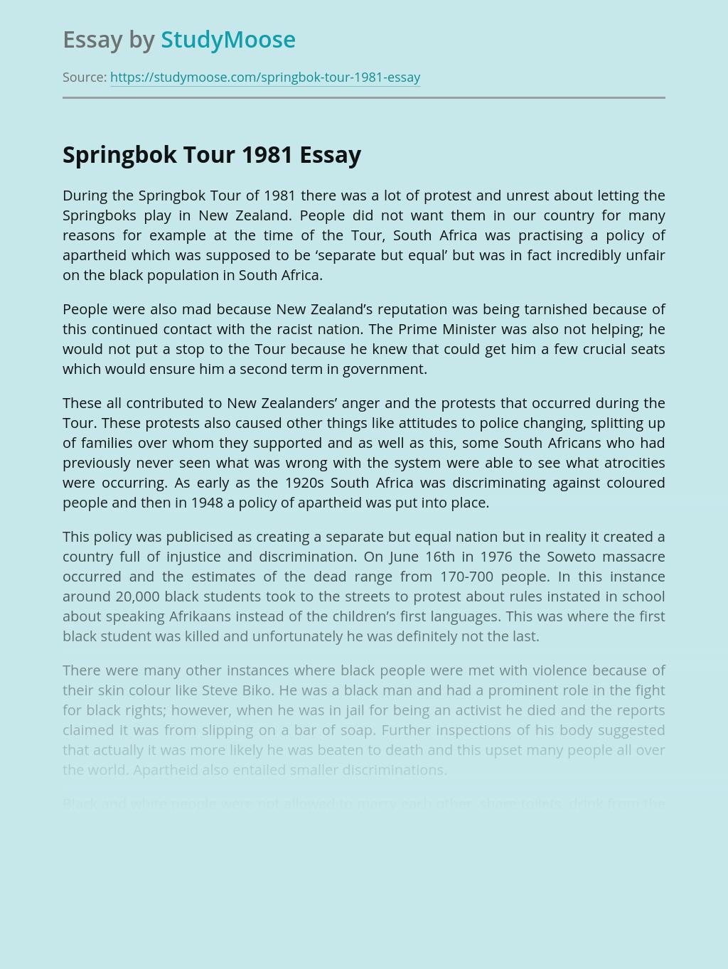 Springbok tour 1981 essay best masters essay proofreading services uk