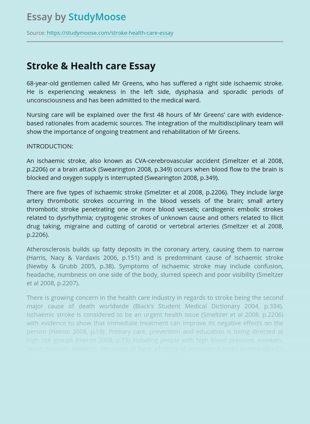 Stroke & Health care