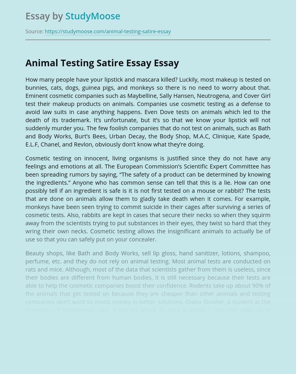 Animal Testing Satire Essay