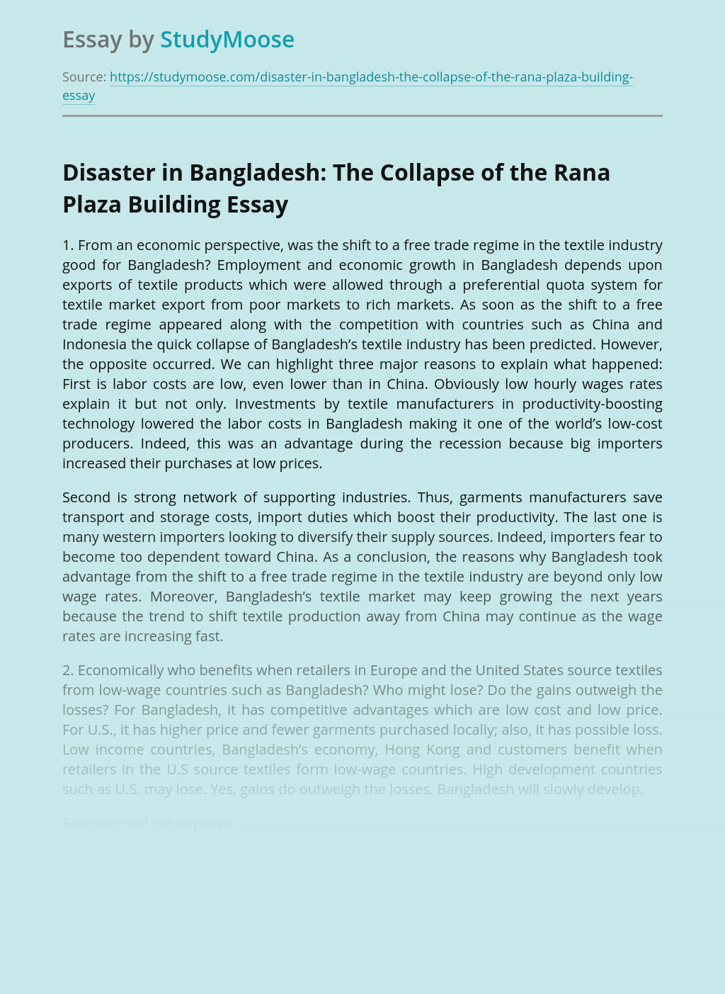 Disaster in Bangladesh: The Collapse of the Rana Plaza Building