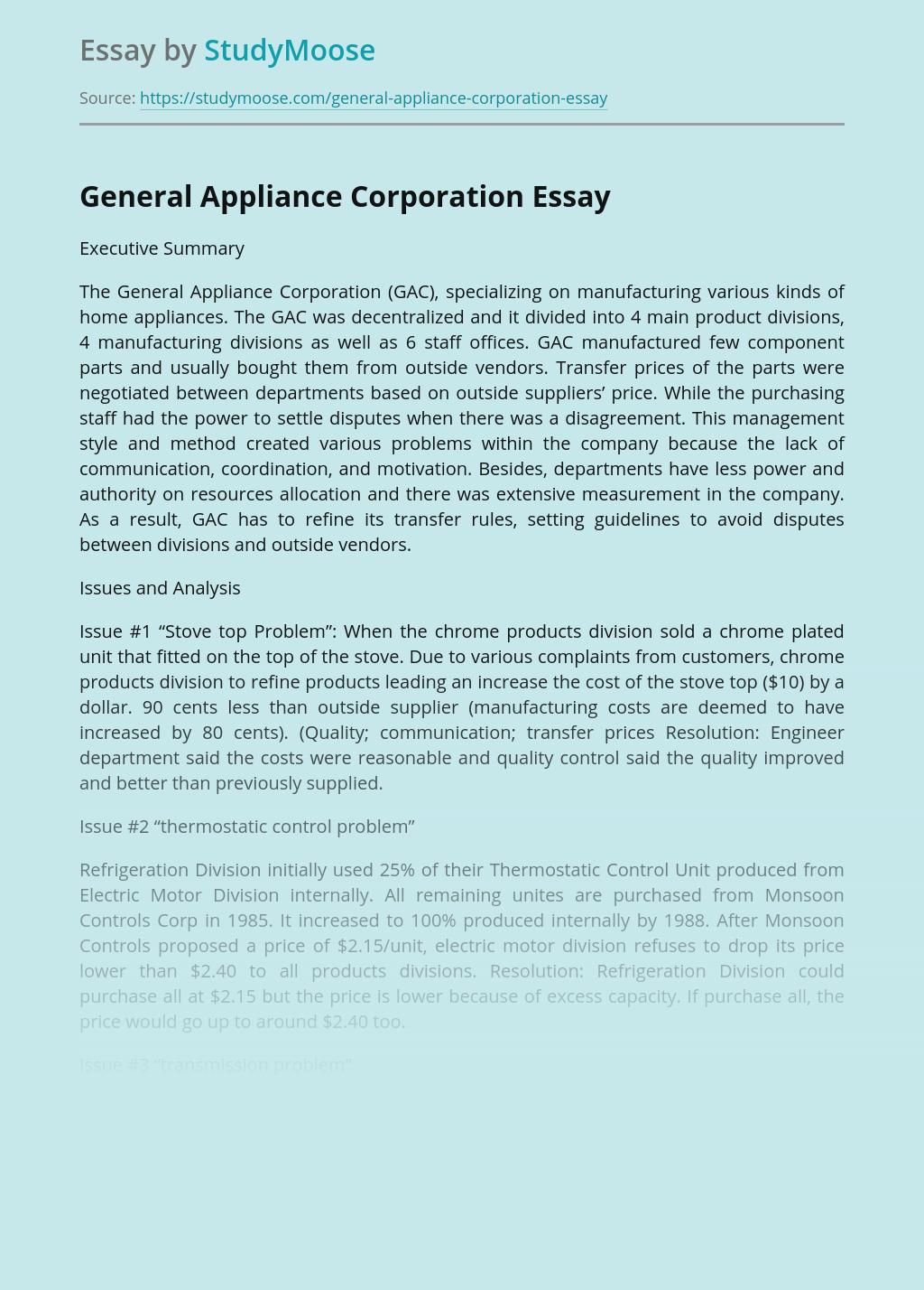 General Appliance Corporation