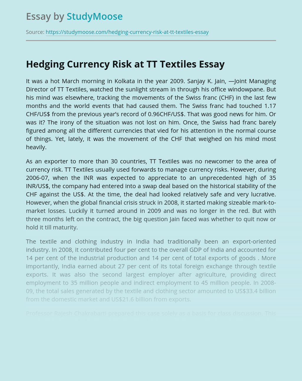 Hedging Currency Risk at TT Textiles