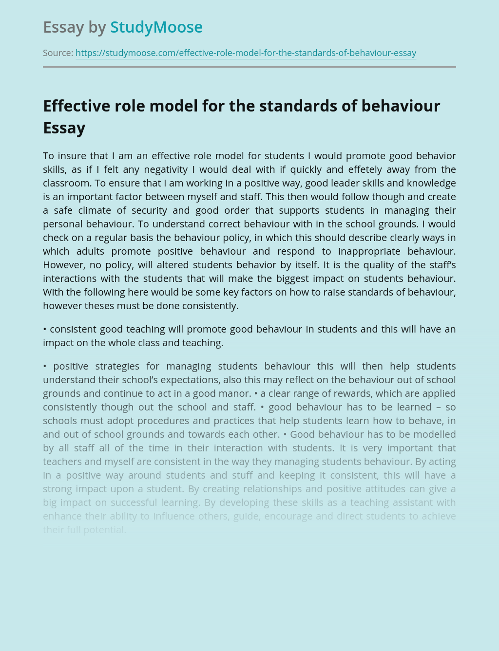 Effective role model for the standards of behaviour
