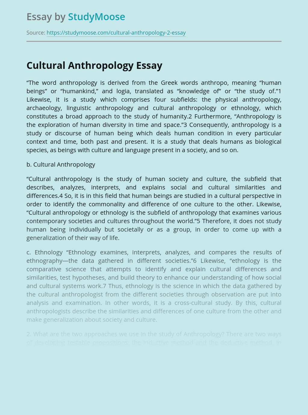 Cultural Anthropology Study