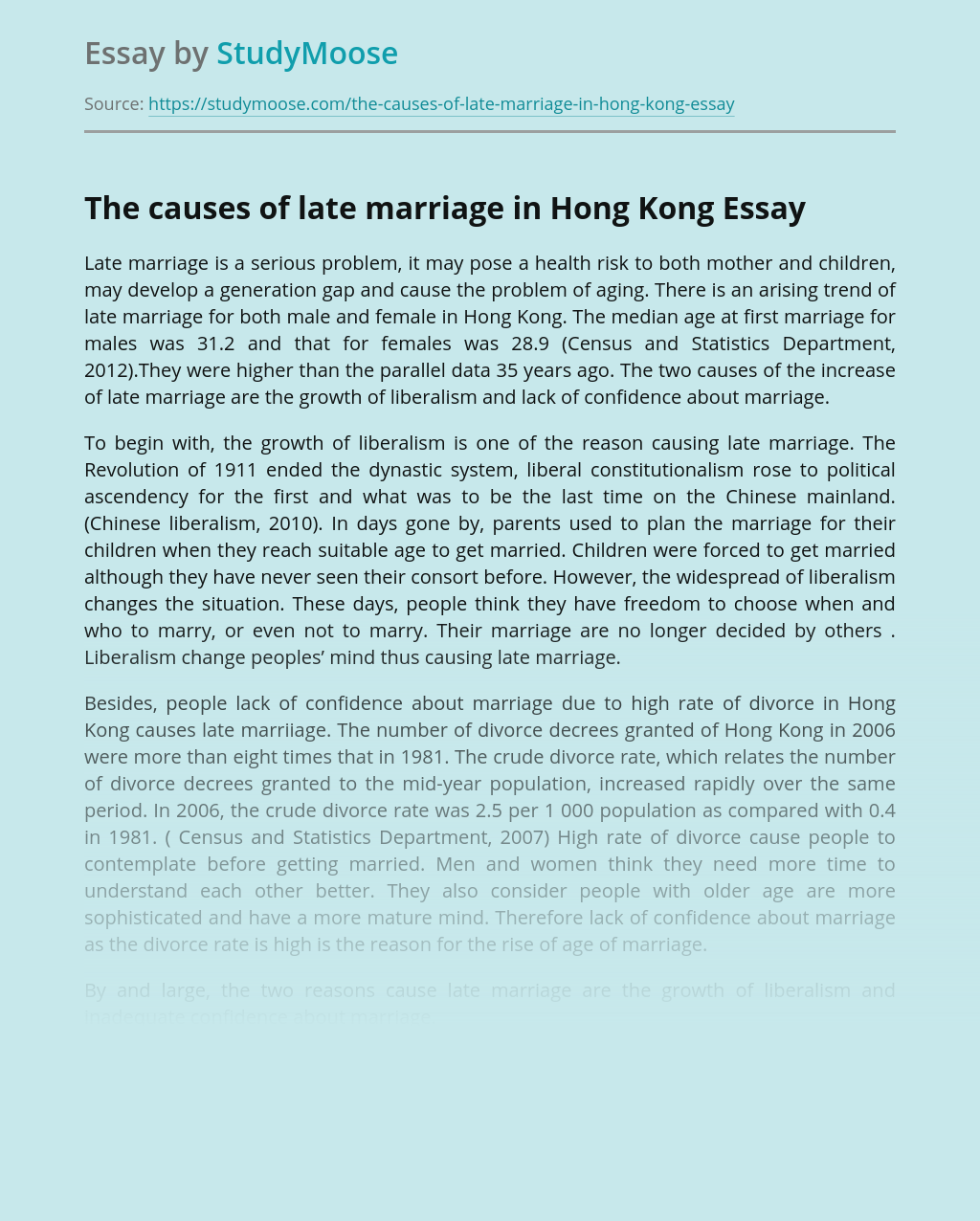 The Causes Of Late Marriage In Hong Kong Free Essay Example