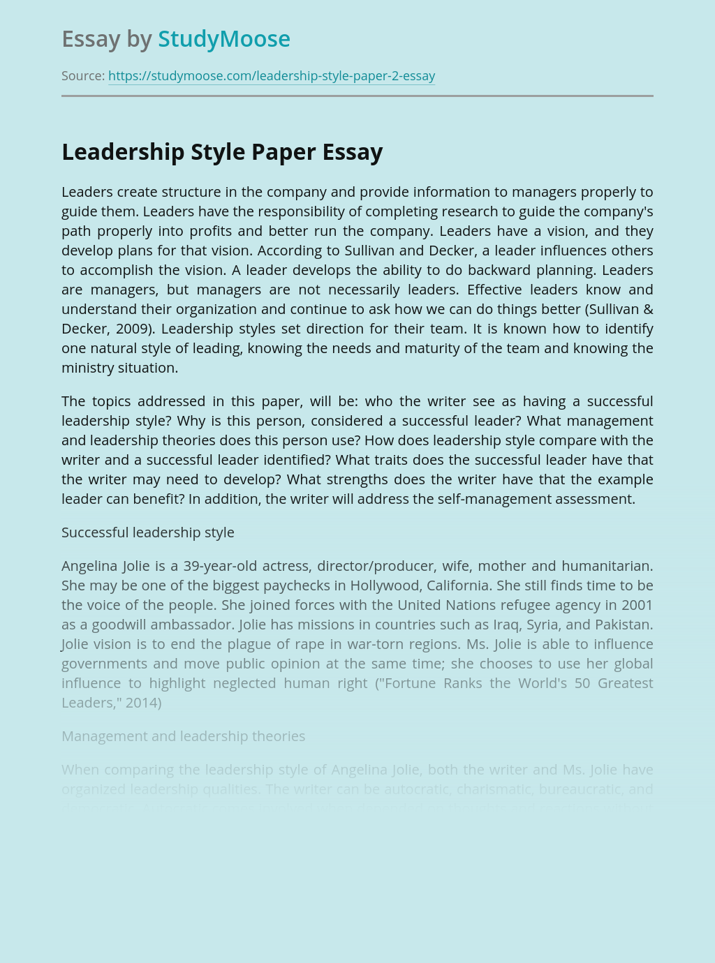 Leadership Style Paper