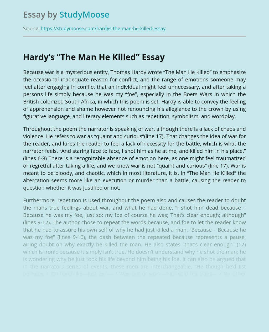 A Poem The Man He Killed by Hardy