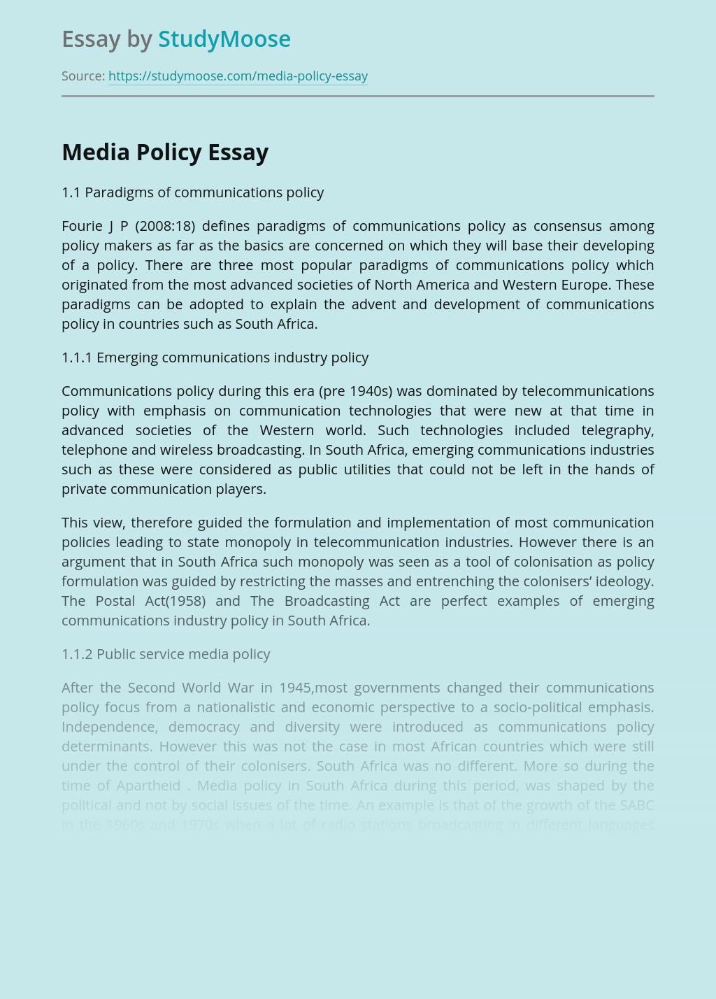 Media Policy