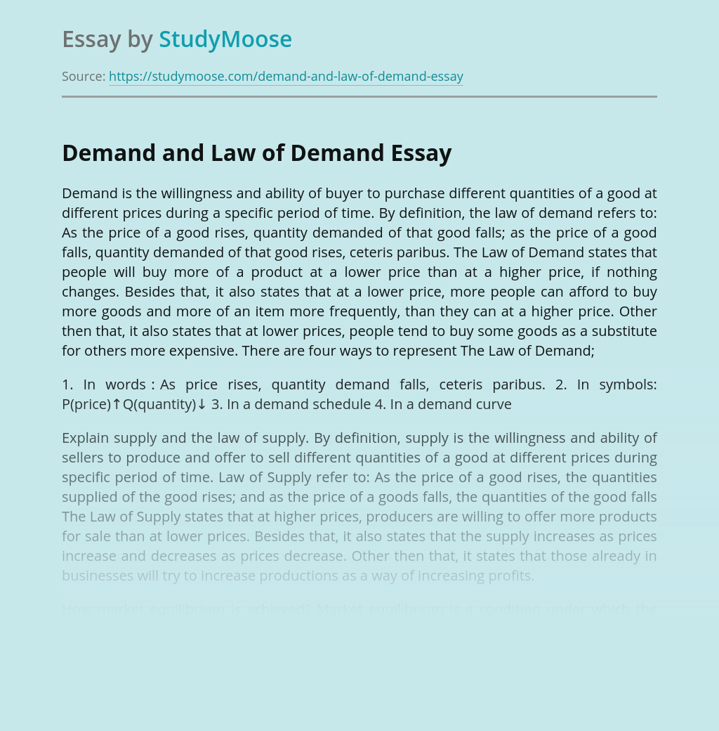 Demand and Law of Demand