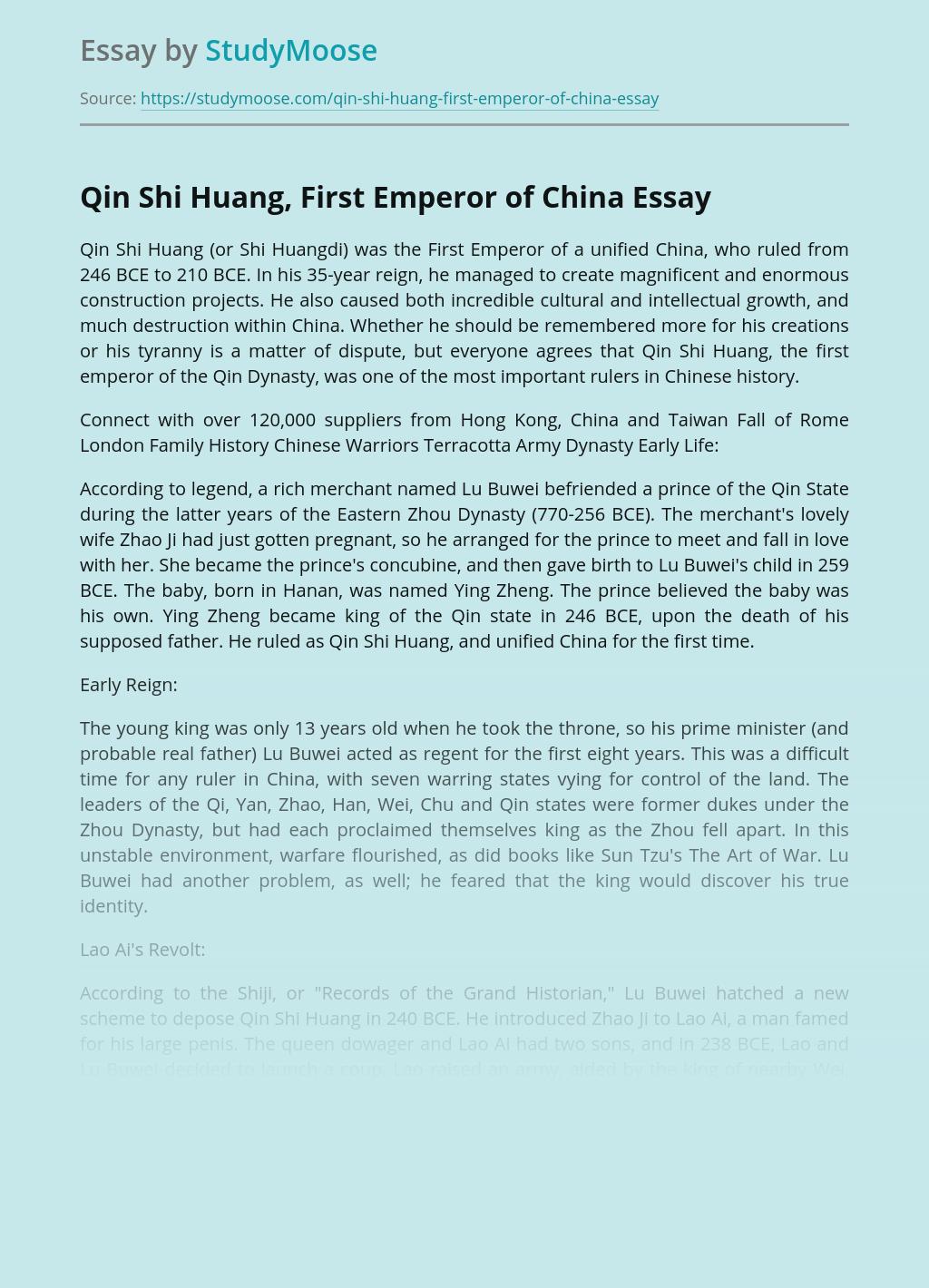 Qin Shi Huang, First Emperor of China