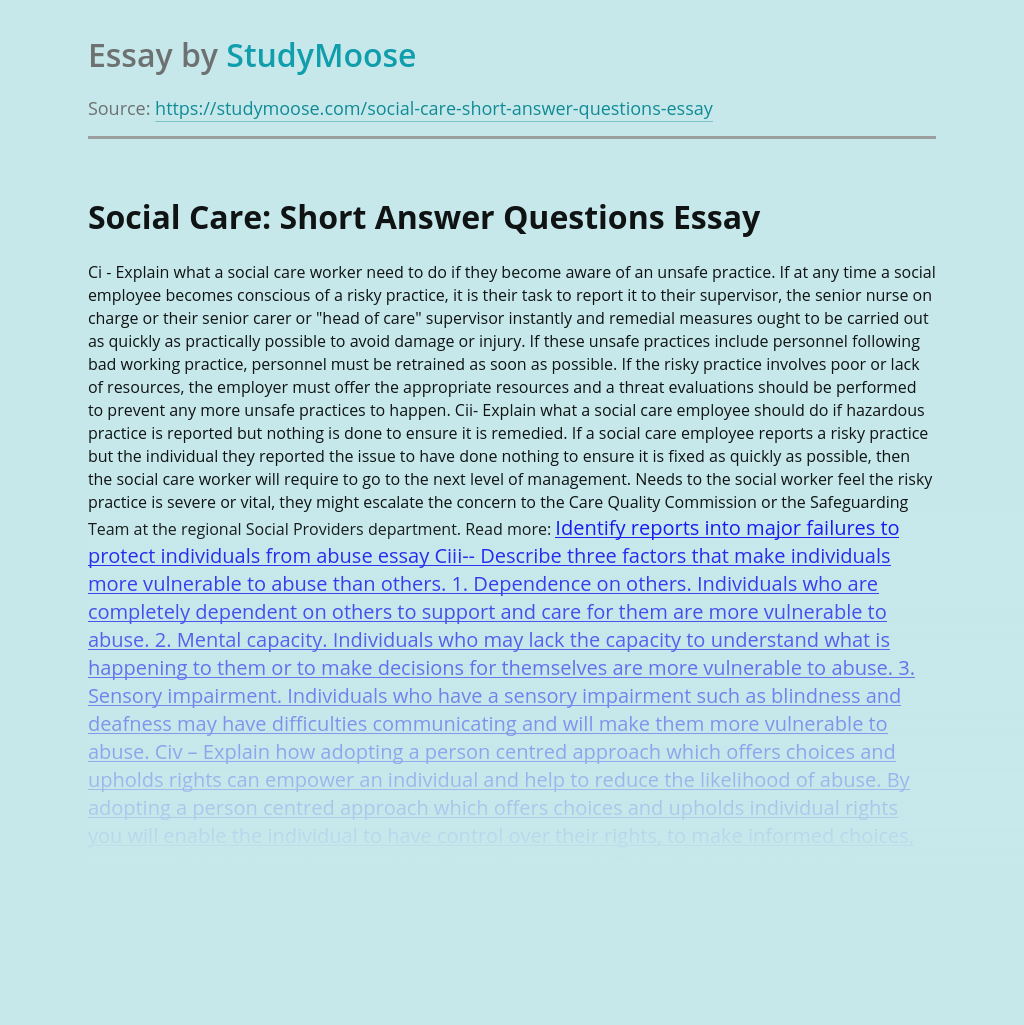 Social Care: Short Answer Questions