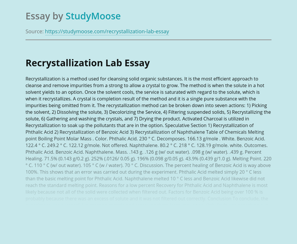 Recrystallization Lab
