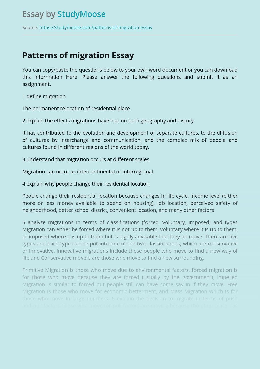Patterns of migration