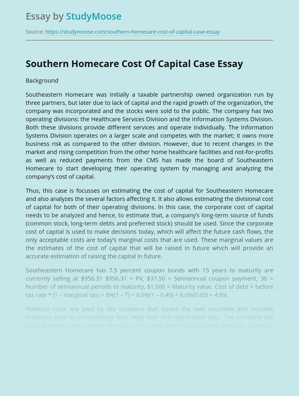 Southern Homecare Cost Of Capital Case