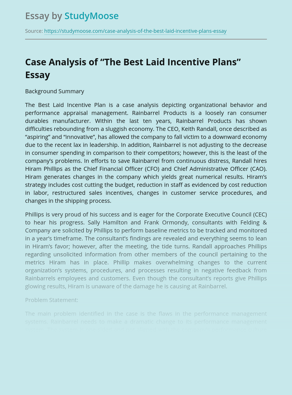 """Case Analysis of """"The Best Laid Incentive Plans"""""""