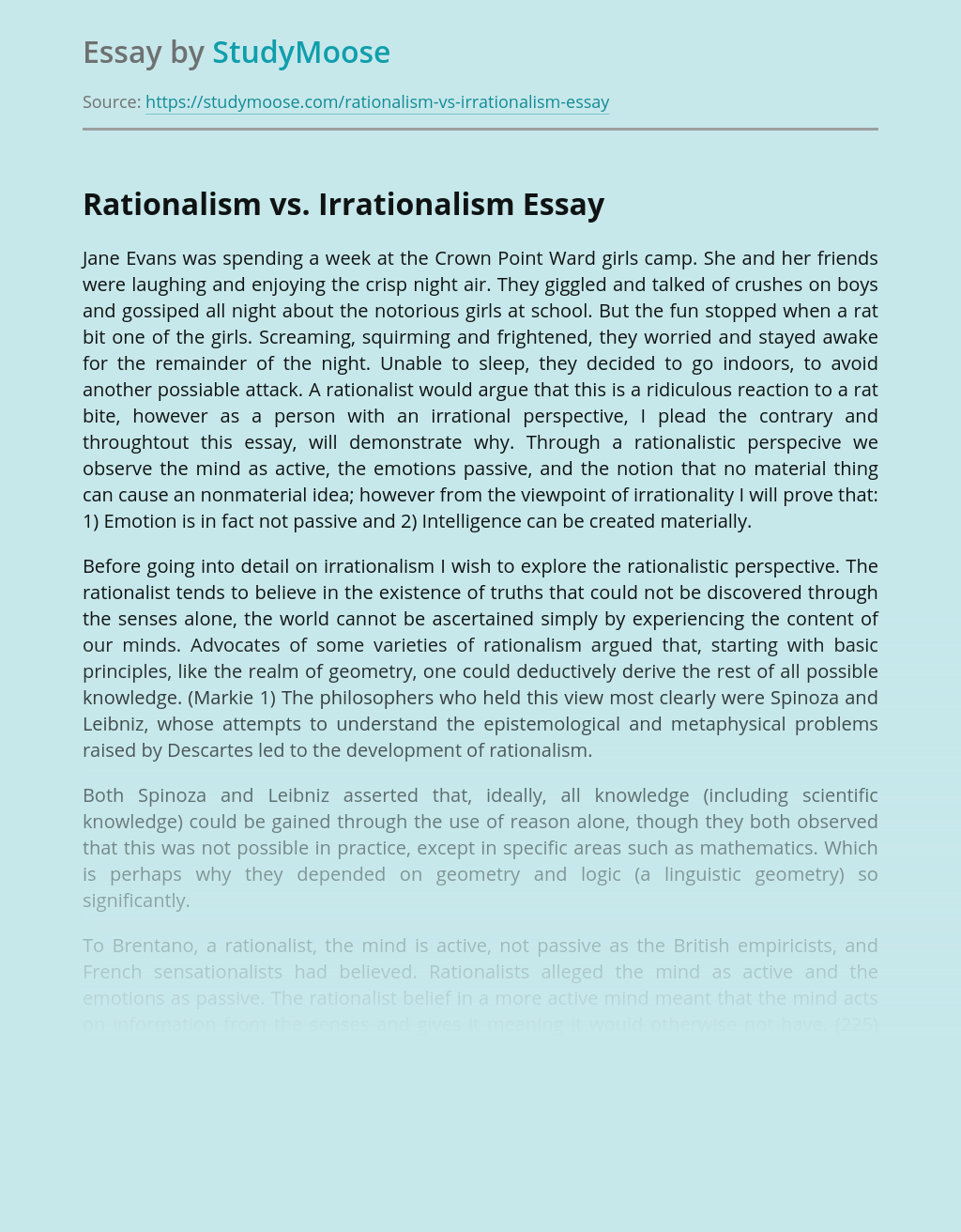 Rationalism vs. Irrationalism