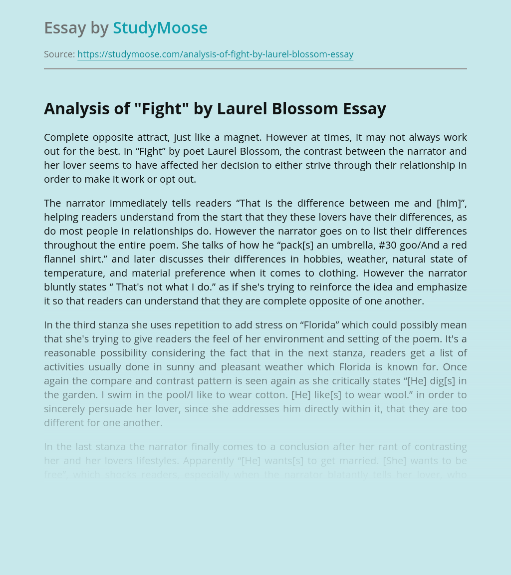 "Analysis of ""Fight"" by Laurel Blossom"