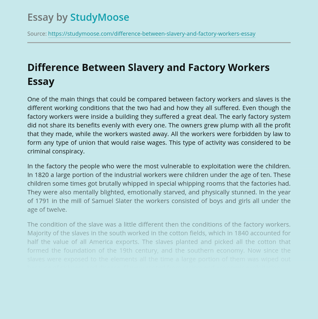 Difference Between Slavery and Factory Workers
