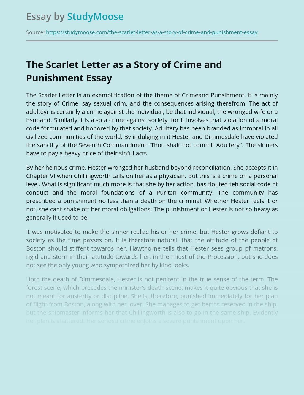 The Scarlet Letter as a Story of Crime and Punishment