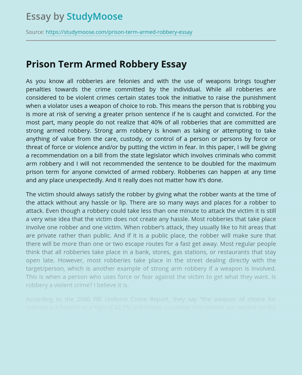 Armed robbery essay pay to write culture cover letter