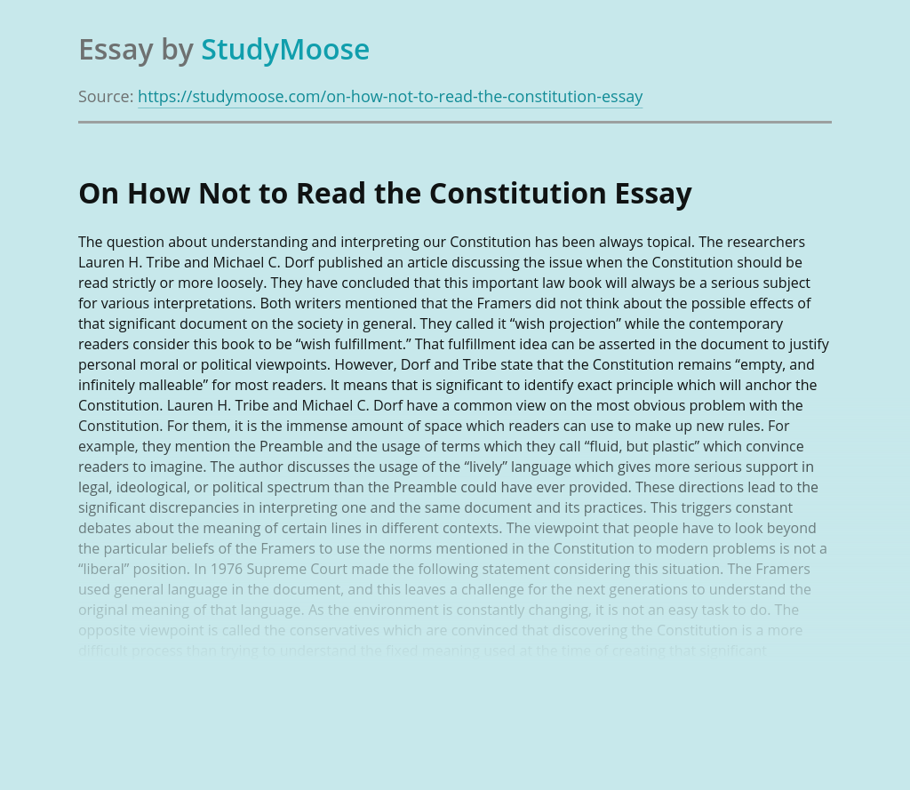 On How Not to Read the Constitution
