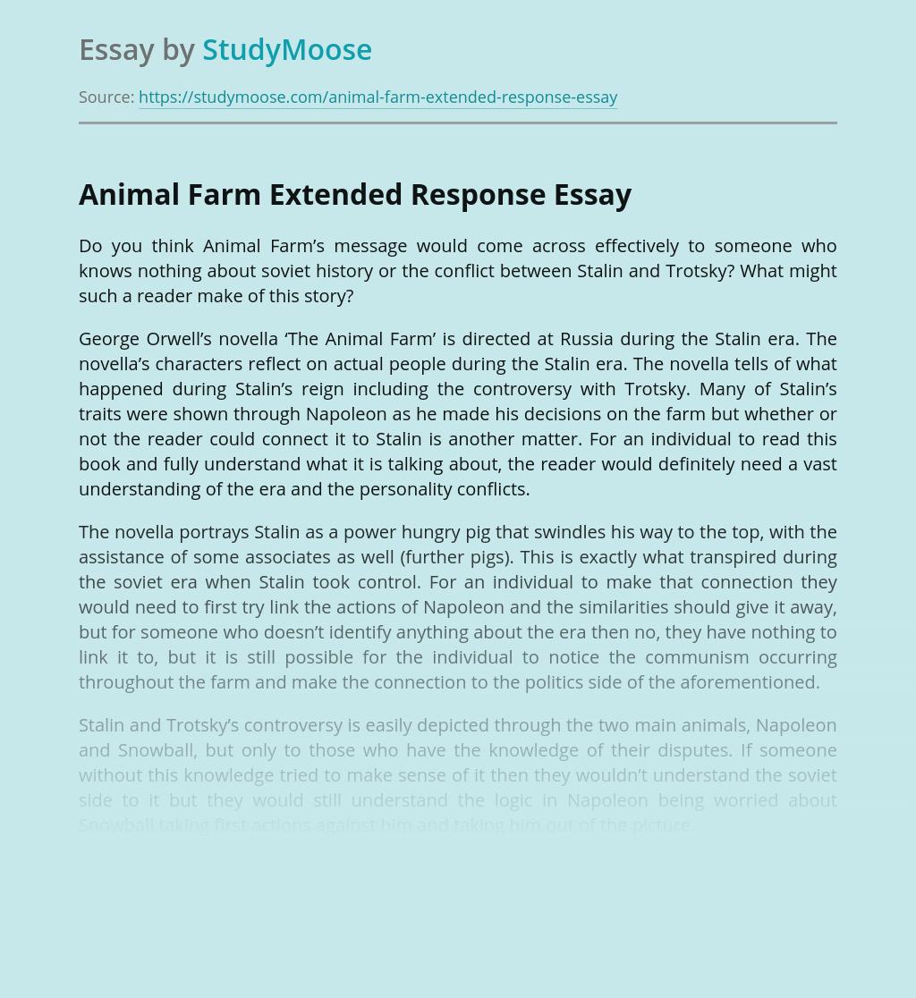 Animal Farm Extended Response