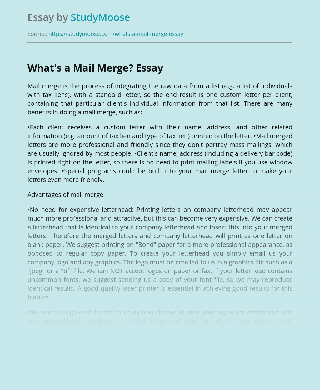 What's a Mail Merge?