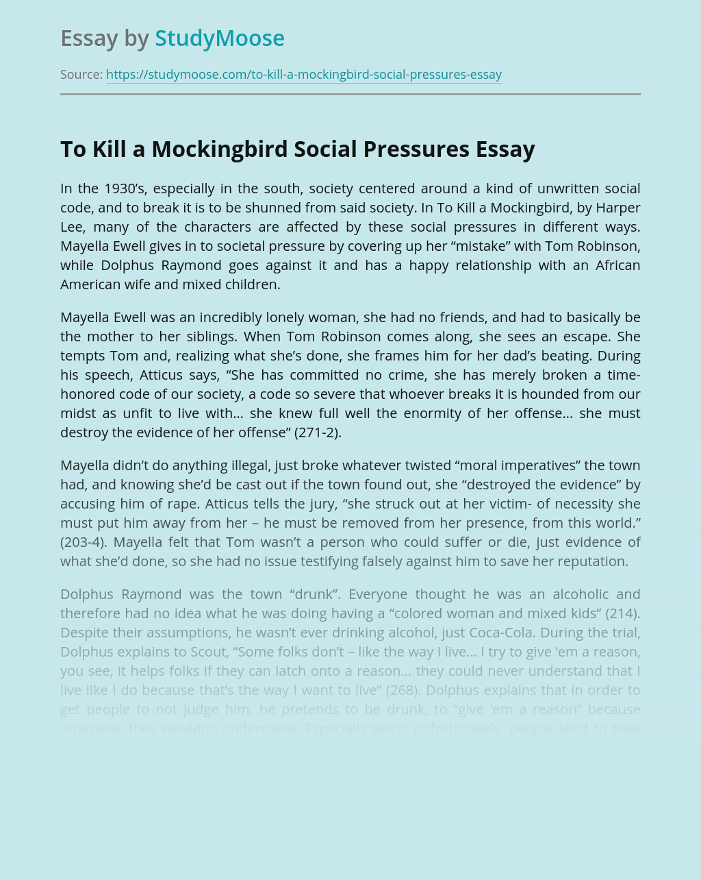 To Kill a Mockingbird Social Pressures