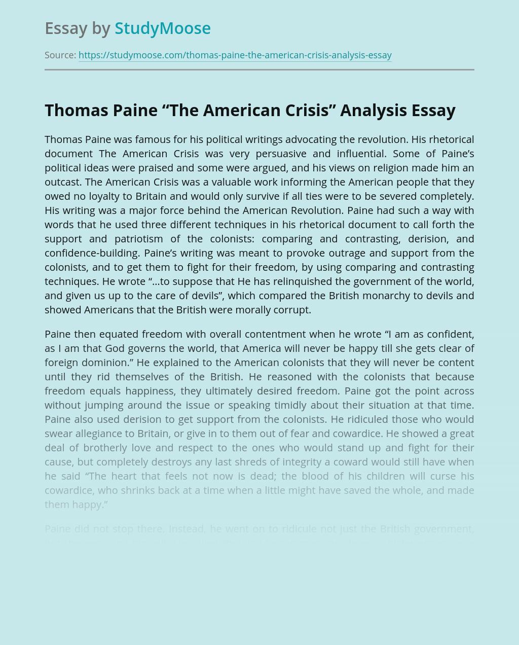 "Thomas Paine ""The American Crisis"" Analysis"