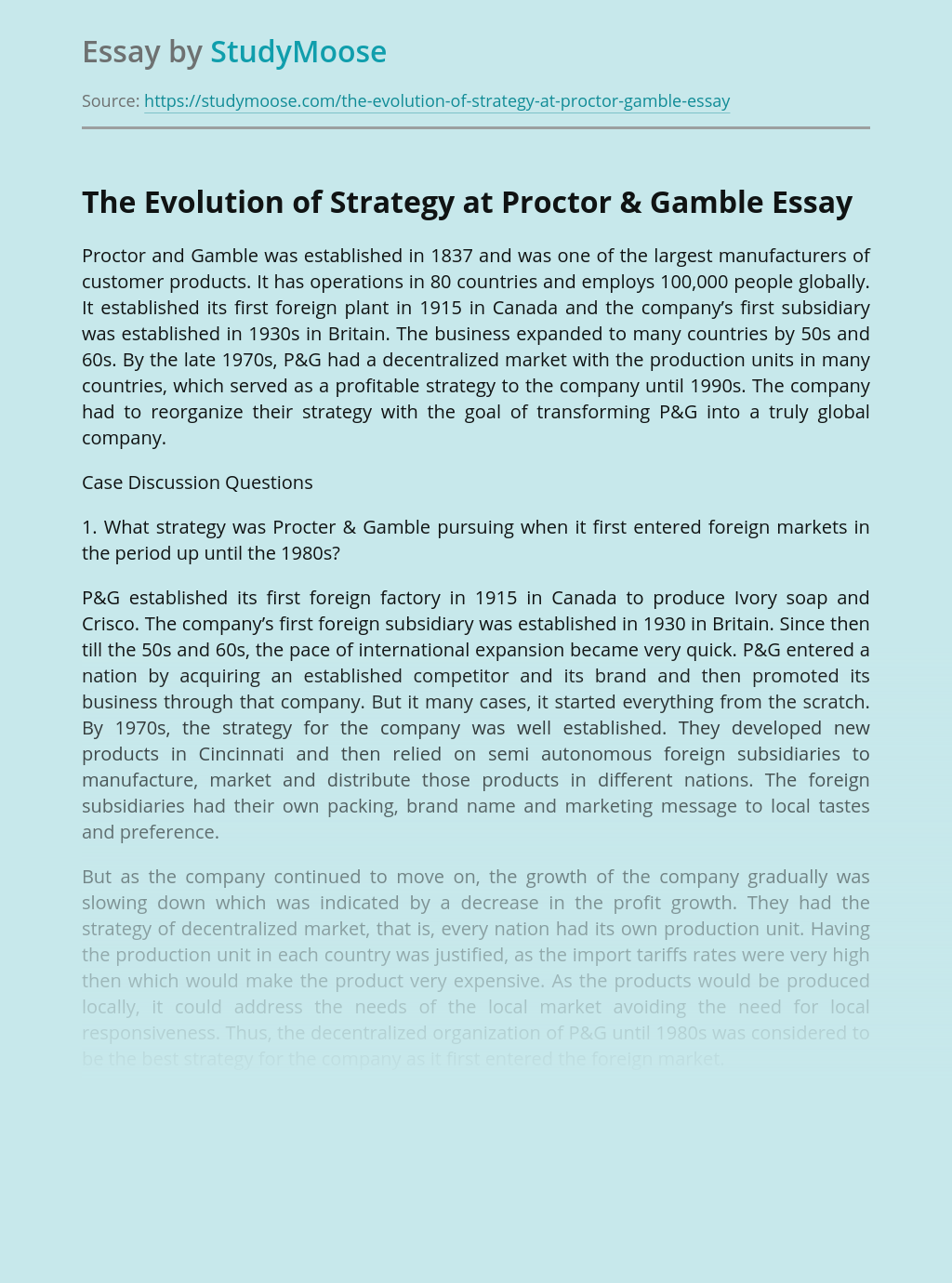 The Evolution of Strategy at Proctor & Gamble