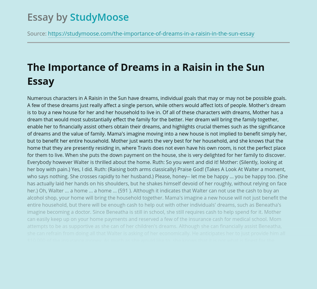 The Importance of Dreams in a Raisin in the Sun