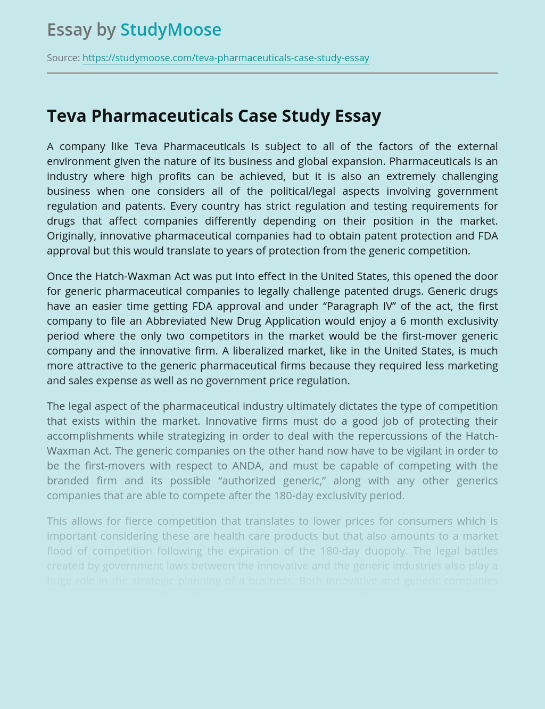 Teva Pharmaceuticals Case Study