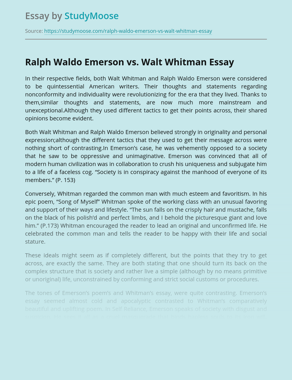 Transcendentalism of Ralph Waldo Emerson vs Walt Whitman