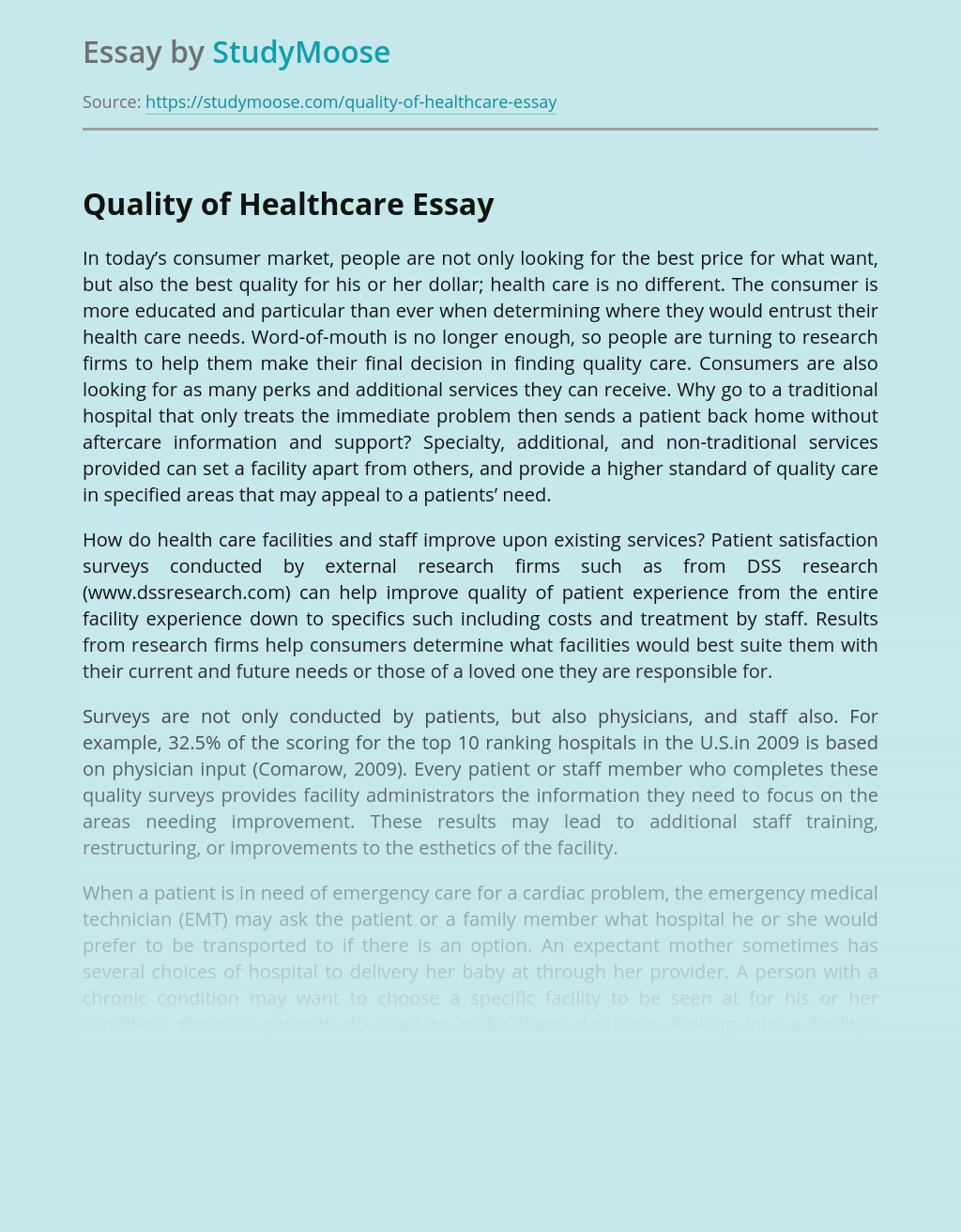 Quality of Healthcare