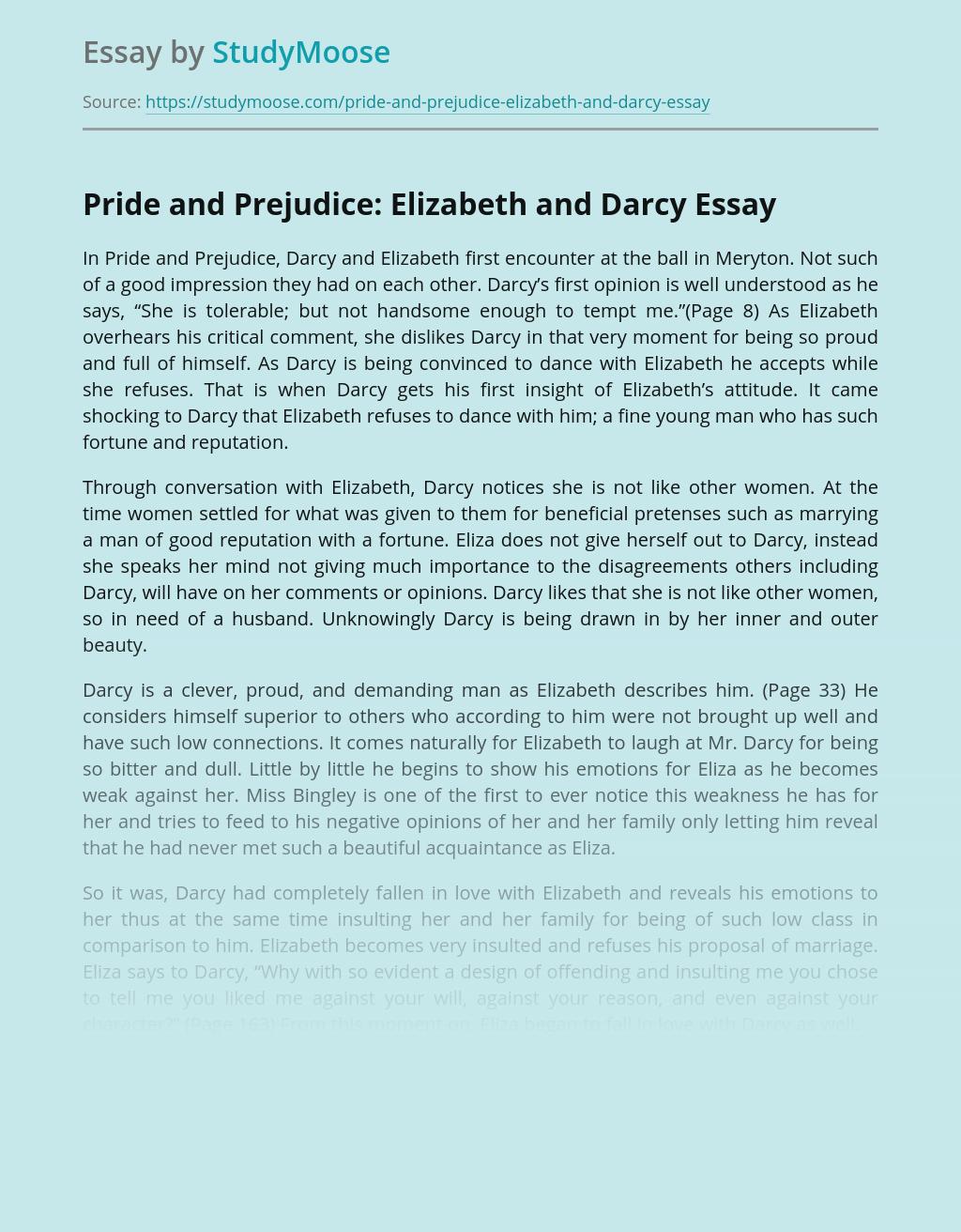 Pride and Prejudice: Elizabeth and Darcy
