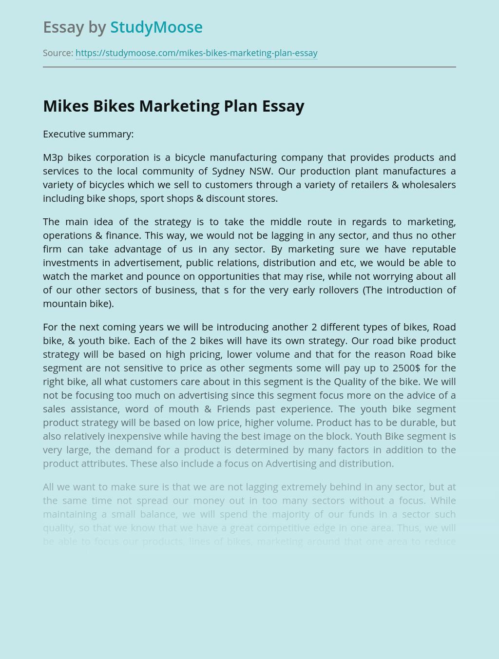 Mikes Bikes Marketing Plan