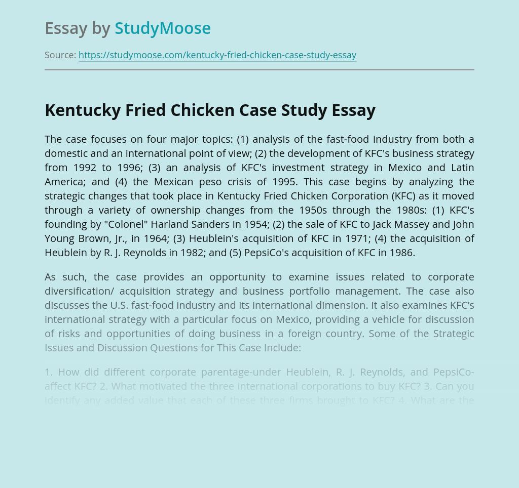 Kentucky Fried Chicken Case Study
