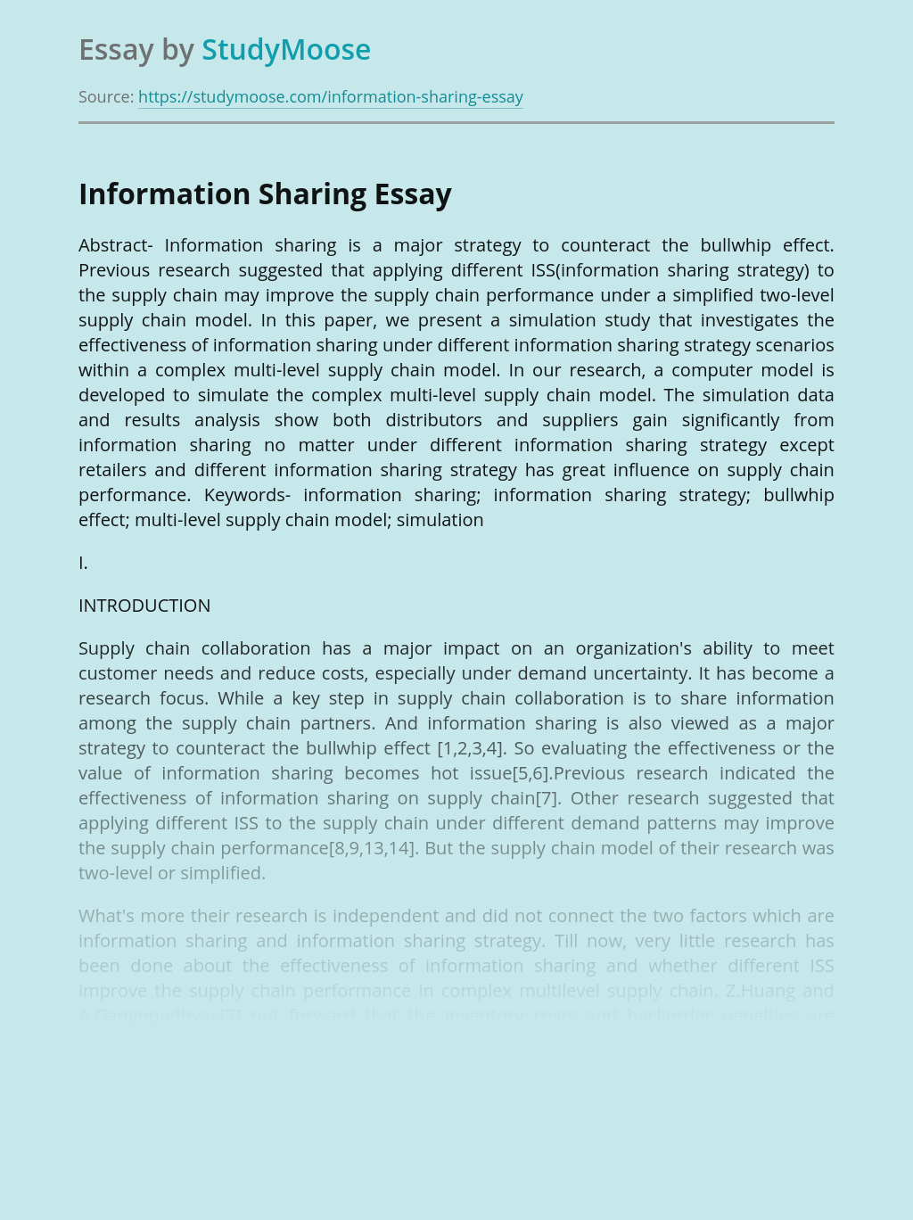 Information Sharing Strategy in Management