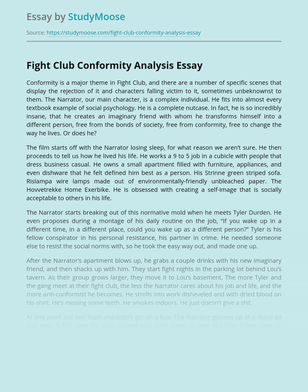 Conformity Is A Major Theme in Fight Club